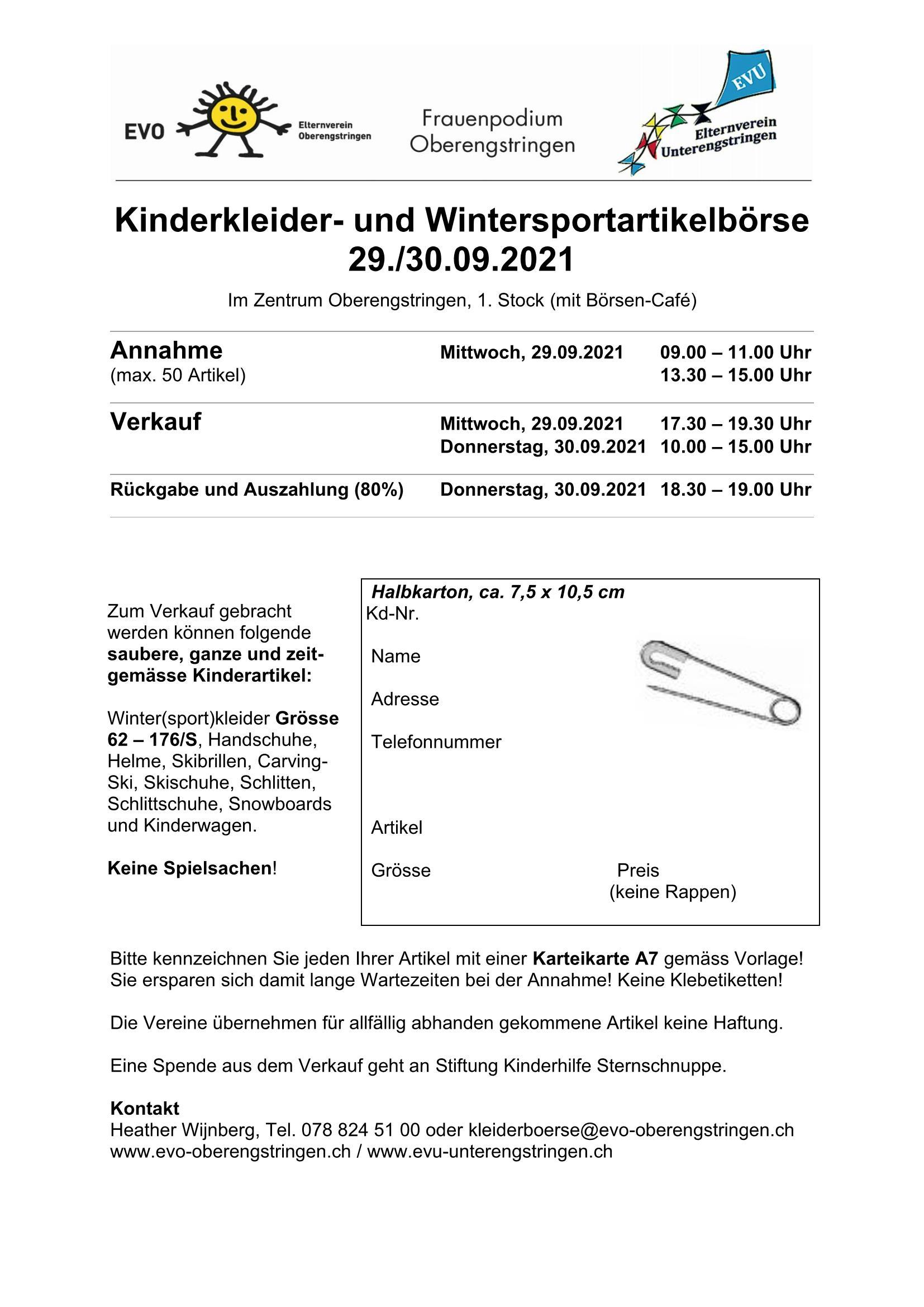 Kinderkleider- und Wintersportbörse @ Zentrum Oberengstringen, oberer Stock